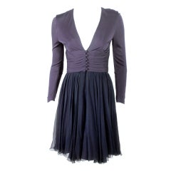 Helen Rose Navy Blue V-neck Cocktail Dress w/ Chiffon Skirt