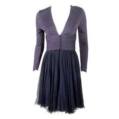 Helen Rose Navy Blue V-neck Cocktail Dress w/ Chiffon Skirt