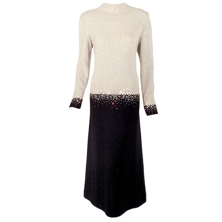 Pauline Trigere Silver & Black Evening Gown w/ Rhinestone Detail