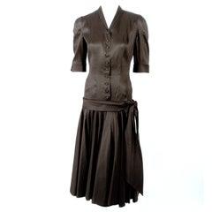 Traina Norell Black Satin Cocktail Dress,Drop Waist & Full Skirt xs