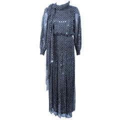 Andre Laug Navy & White Polka Dot Sequin Chiffon Gown, w/ Matching Scarf sz 4