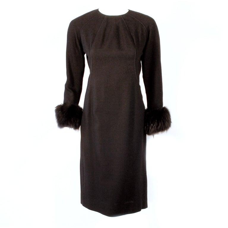 Don Loper Black Long Sleeve Wool Back Zip Dress Fur Cuffs & Side Slit Size 6