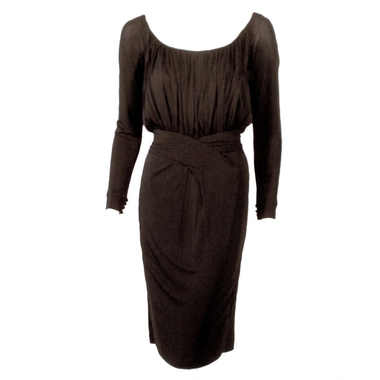 Ceil Chapman Vintage Black Long Sleeve Jersey Cocktail Dress