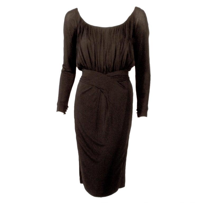 Ceil Chapman Vintage Black Long Sleeve Jersey Cocktail