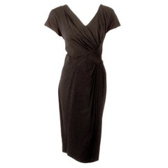 Dorothy O'Hara 1950s Black Cocktail Dress w/ Diagonal Front Pleating Size 10-12
