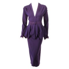Dorothy O'Hara Purple Wool Cocktail Dress w/ Peplum & Belt