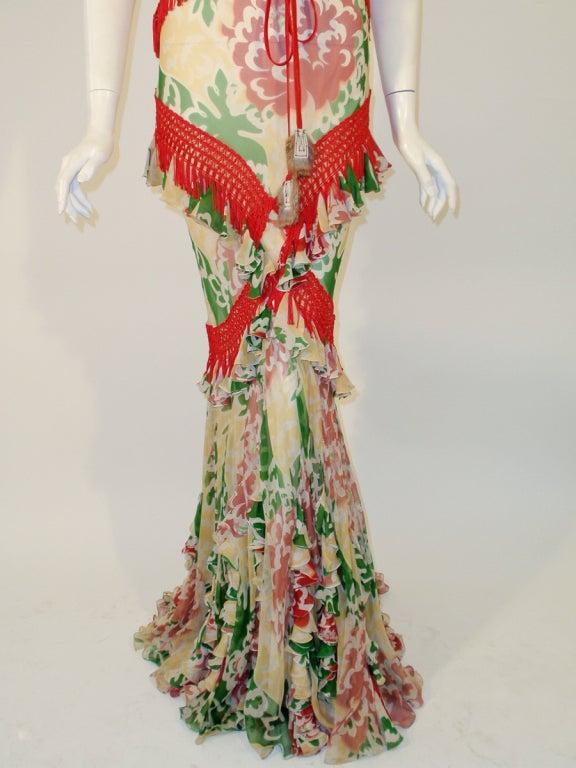 John Galliano Print Silk Chiffon Ruffled Gown w/ Fringe & Laces 10