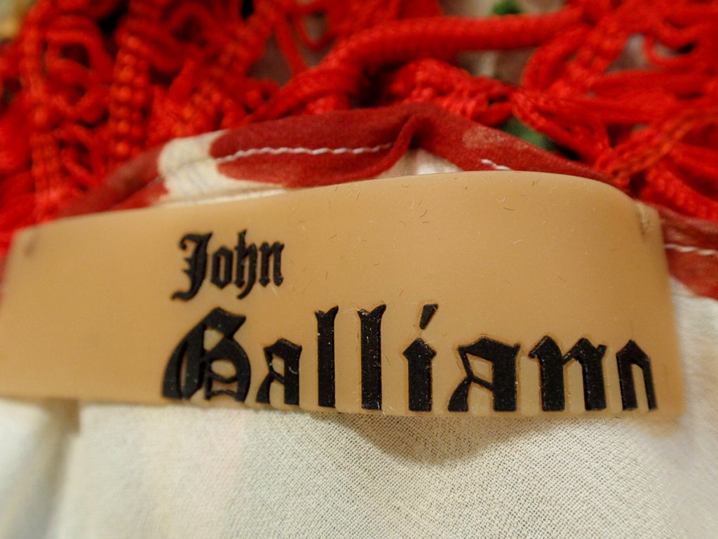John Galliano Print Silk Chiffon Ruffled Gown w/ Fringe & Laces 2