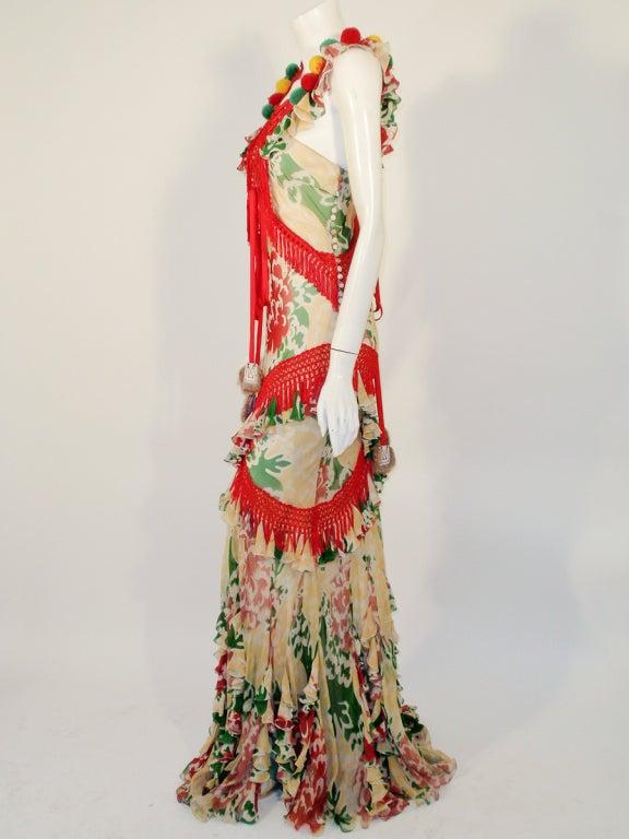 John Galliano Print Silk Chiffon Ruffled Gown w/ Fringe & Laces 3