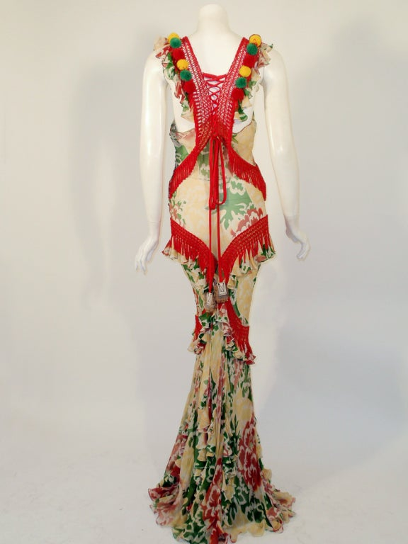 John Galliano Print Silk Chiffon Ruffled Gown w/ Fringe & Laces image 4