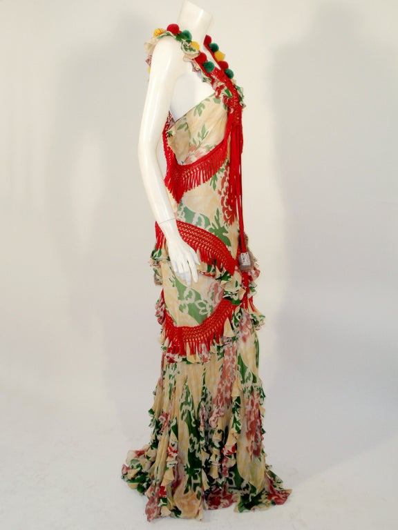 John Galliano Print Silk Chiffon Ruffled Gown w/ Fringe & Laces image 5