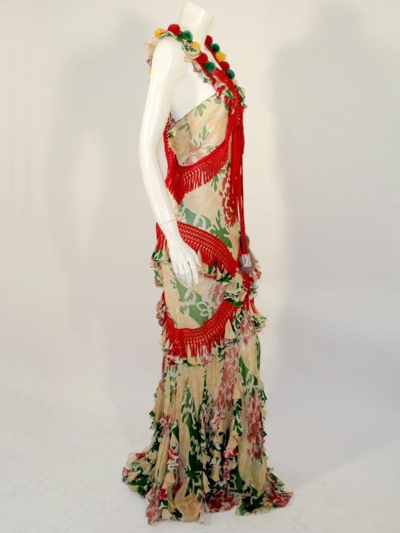 John Galliano Print Silk Chiffon Ruffled Gown w/ Fringe & Laces 5