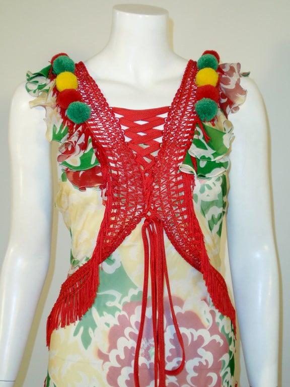 John Galliano Print Silk Chiffon Ruffled Gown w/ Fringe & Laces 6