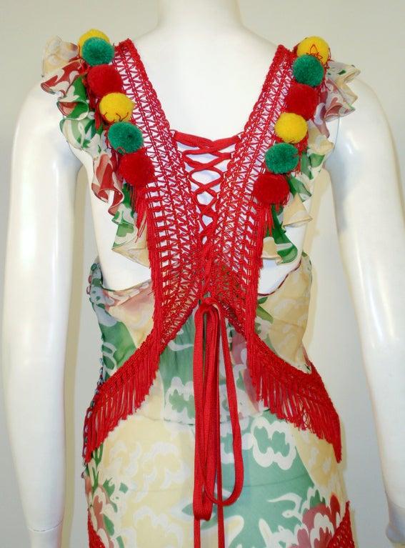 John Galliano Print Silk Chiffon Ruffled Gown w/ Fringe & Laces 7