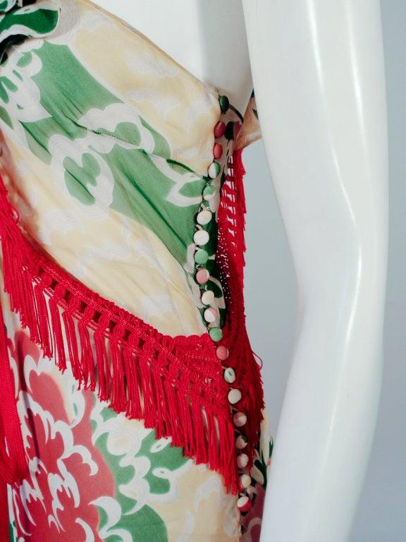 John Galliano Print Silk Chiffon Ruffled Gown w/ Fringe & Laces 8