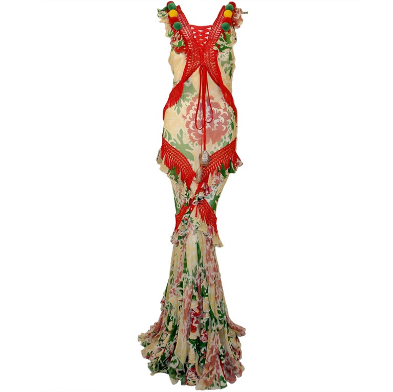 John Galliano Print Silk Chiffon Ruffled Gown w/ Fringe & Laces