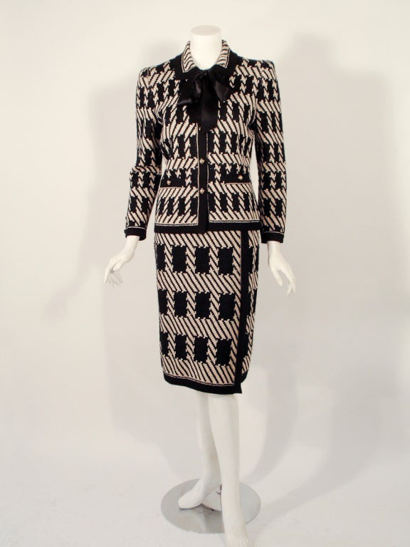Adolfo 3 pc Black, Taupe Wool Knit Cape, Jacket, Skirt Suit For Sale 2