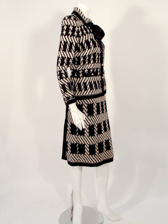 Adolfo 3 pc Black, Taupe Wool Knit Cape, Jacket, Skirt Suit For Sale 3