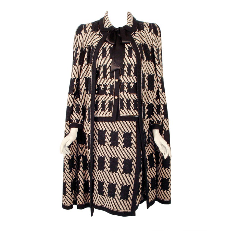 Adolfo 3 pc Black, Taupe Wool Knit Cape, Jacket, Skirt Suit For Sale
