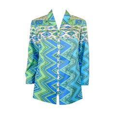 Emilio Pucci 1970s Aqua Blue, Mint Green, & White Cotton Print Jacket
