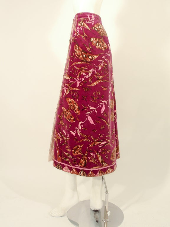 Emilio Pucci 1960s Plum Cotton Velvet with pink Butterfly Print Maxi Skirt 2