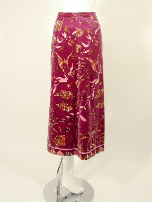 Emilio Pucci 1960s Plum Cotton Velvet with pink Butterfly Print Maxi Skirt 3