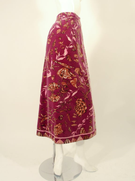 Emilio Pucci 1960s Plum Cotton Velvet with pink Butterfly Print Maxi Skirt 4