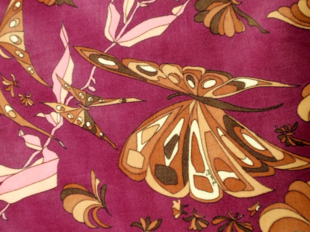 Emilio Pucci 1960s Plum Cotton Velvet with pink Butterfly Print Maxi Skirt 7