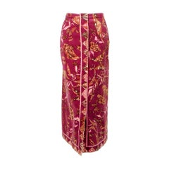Emilio Pucci 1960s Plum Cotton Velvet with pink Butterfly Print Maxi Skirt