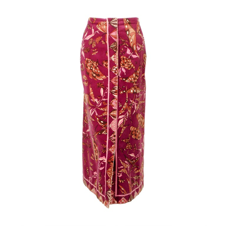 Emilio Pucci 1960s Plum Cotton Velvet with pink Butterfly Print Maxi Skirt 1