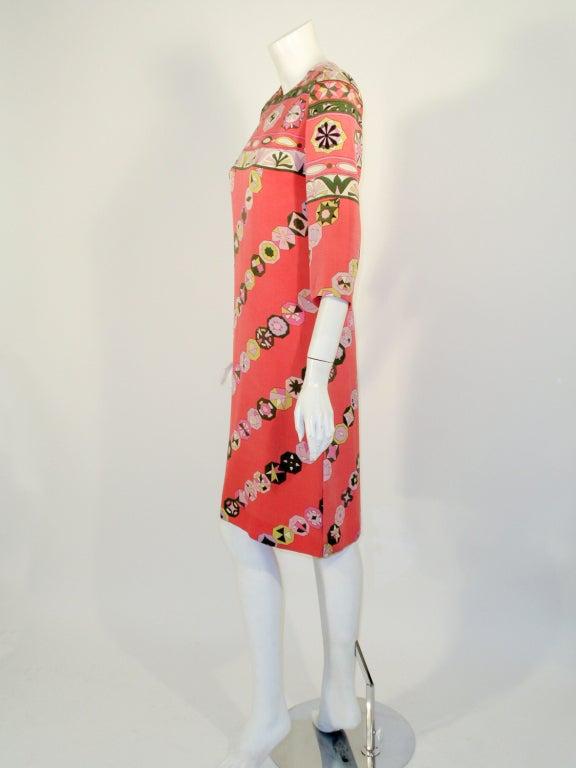 Orange Emilio Pucci Vintage Coral Silk Jersey Print 3/4 Sleeve Sheath Dress 1960s For Sale