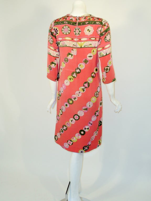 Emilio Pucci Vintage Coral Silk Jersey Print 3/4 Sleeve Sheath Dress 1960s In Good Condition For Sale In Los Angeles, CA