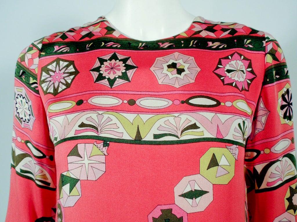 Women's Emilio Pucci Vintage Coral Silk Jersey Print 3/4 Sleeve Sheath Dress 1960s For Sale
