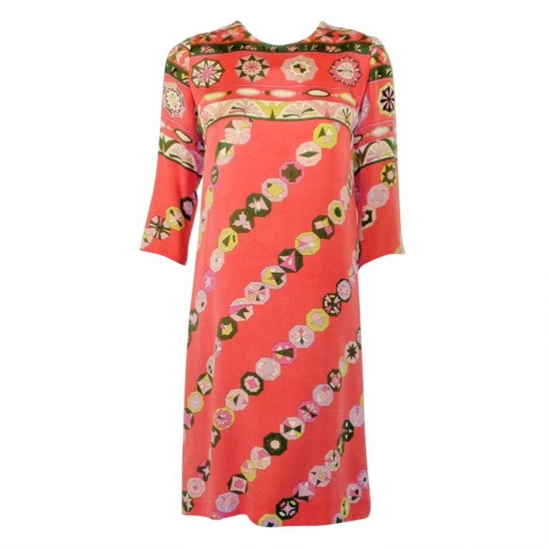 Emilio Pucci Vintage Coral Silk Jersey Print 3/4 Sleeve Sheath Dress 1960s