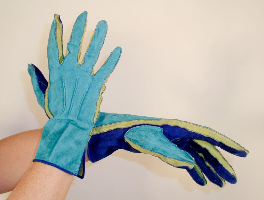 Yves Saint Laurent Rive Gauche Blue, Green Blue Suede Gloves 1980s 2