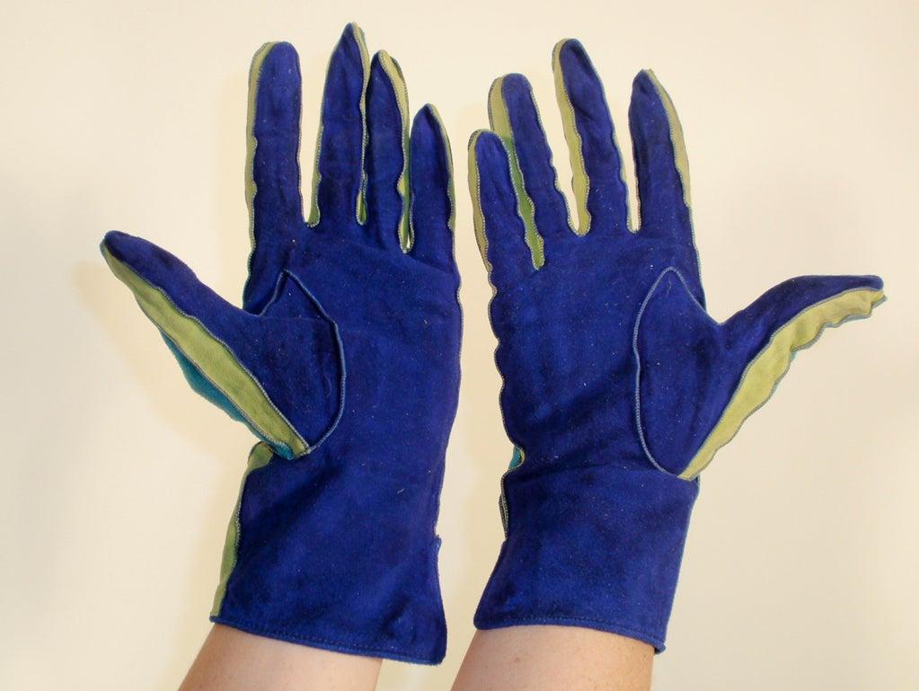 Yves Saint Laurent Rive Gauche Blue, Green Blue Suede Gloves 1980s 4