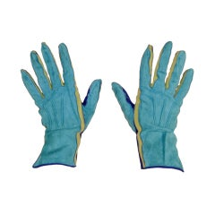 Yves Saint Laurent Rive Gauche Blue, Green Blue Suede Gloves 1980s