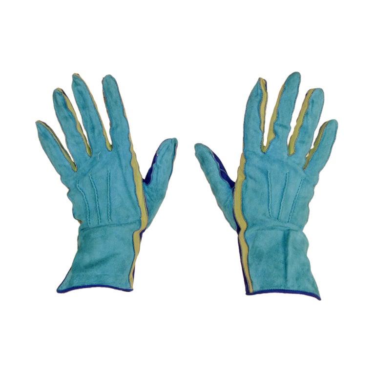 Yves Saint Laurent Rive Gauche Blue, Green Blue Suede Gloves 1980s 1