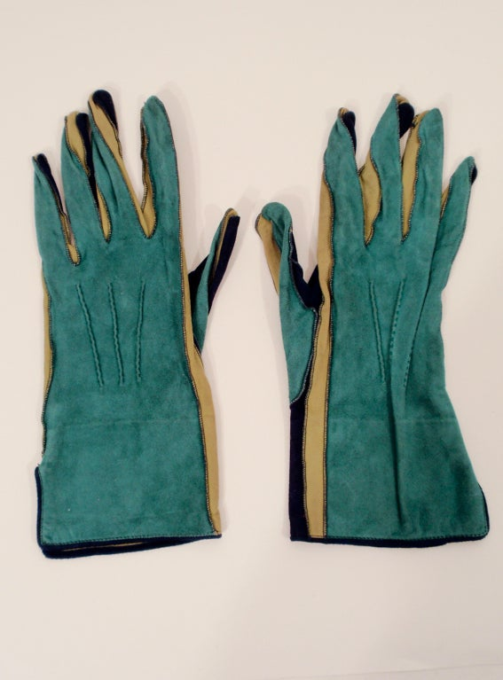 Yves Saint Laurent Rive Gauche Blue, Green Blue Suede Gloves 1980s 5
