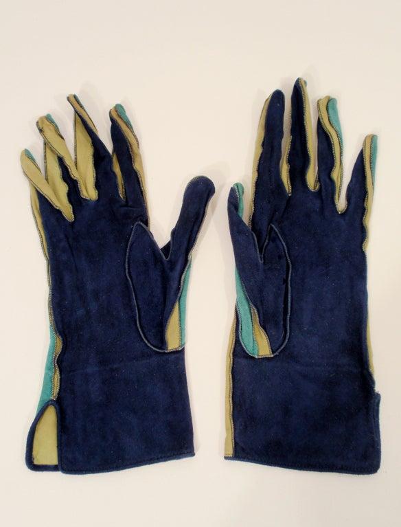 Yves Saint Laurent Rive Gauche Blue, Green Blue Suede Gloves 1980s 6