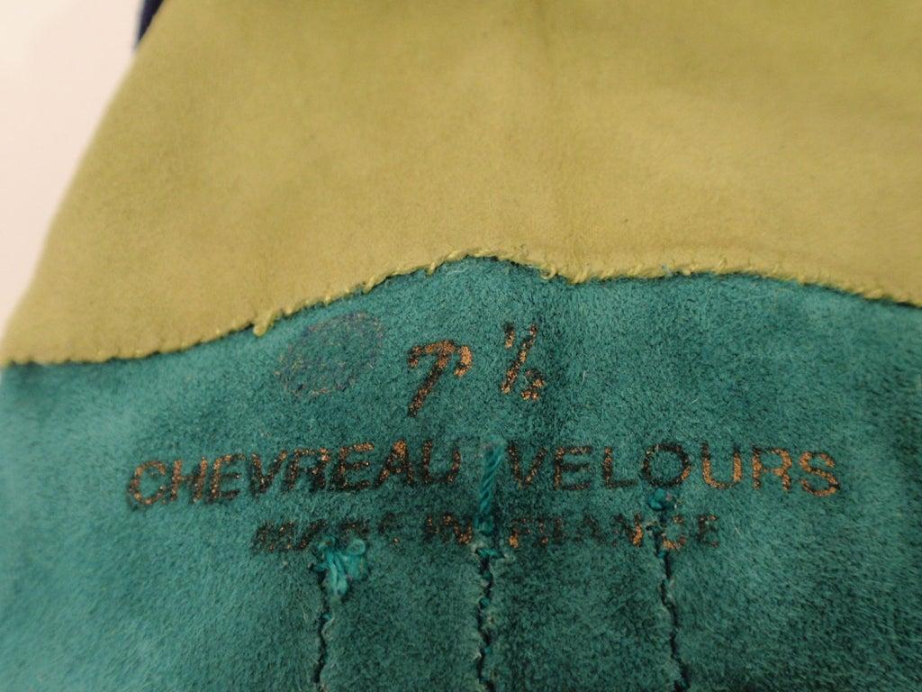 Yves Saint Laurent Rive Gauche Blue, Green Blue Suede Gloves 1980s 7