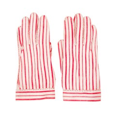 "Hermes for ""Wear Right"" Red & White Striped Gloves Size 6"