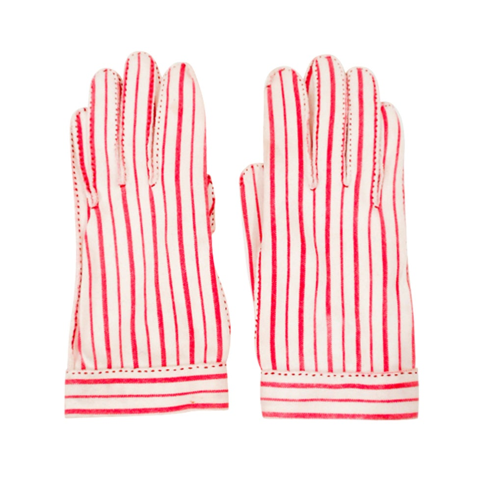 """Hermes for """"Wear Right"""" Red & White Striped Gloves Size 6 For Sale"""