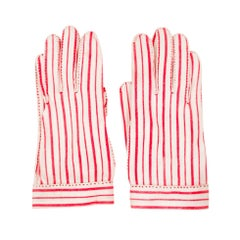 """Hermes for """"Wear Right"""" Red & White Striped Gloves Size 6"""