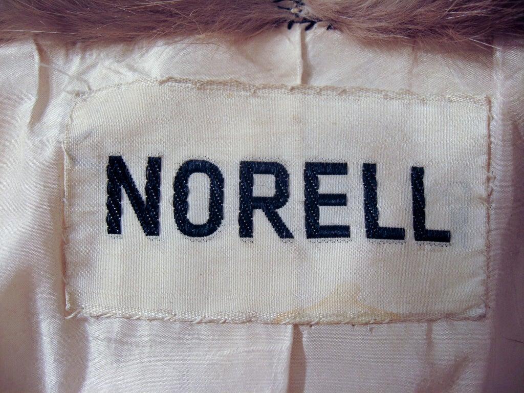 Norman Norell VintageCream Wool Overcoat w/ Fur Collar image 2