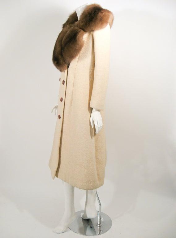 Norman Norell VintageCream Wool Overcoat w/ Fur Collar image 3