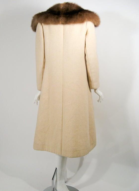 Norman Norell VintageCream Wool Overcoat w/ Fur Collar image 4