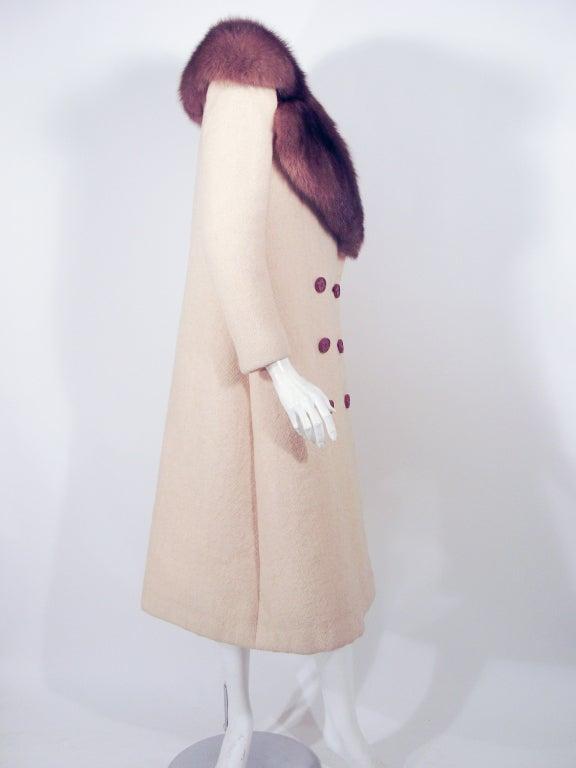 Norman Norell VintageCream Wool Overcoat w/ Fur Collar image 5