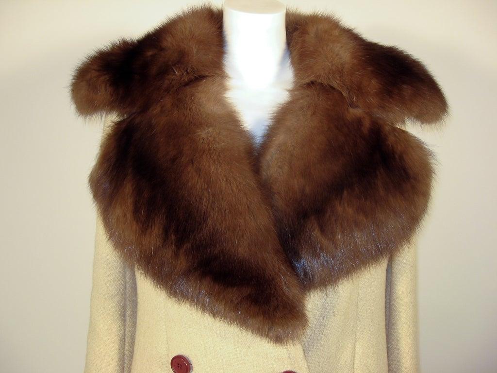 Norman Norell VintageCream Wool Overcoat w/ Fur Collar image 6