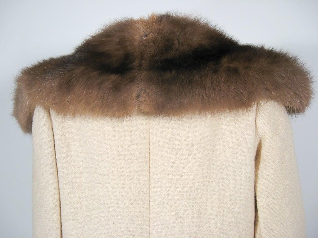 Norman Norell VintageCream Wool Overcoat w/ Fur Collar image 7